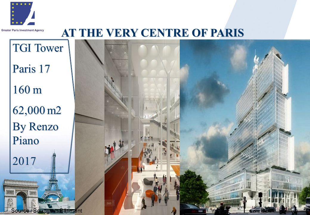 14 TGI Tower Paris 17 160 m 62,000 m2 AT THE VERY CENTRE OF PARIS By Renzo Piano 2017 Source : Bouygues Bâtiment
