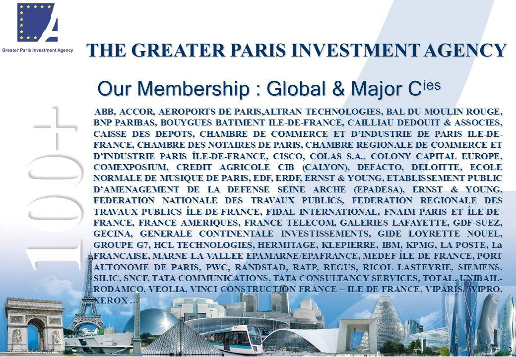 3 Our Membership : Global & Major C ies 100+ THE GREATER PARIS INVESTMENT AGENCY ABB, ACCOR, AEROPORTS DE PARIS,ALTRAN TECHNOLOGIES, BAL DU MOULIN ROUGE, BNP PARIBAS, BOUYGUES BATIMENT ILE-DE-FRANCE, CAILLIAU DEDOUIT & ASSOCIES, CAISSE DES DEPOTS, CHAMBRE DE COMMERCE ET D'INDUSTRIE DE PARIS ILE-DE- FRANCE, CHAMBRE DES NOTAIRES DE PARIS, CHAMBRE REGIONALE DE COMMERCE ET D'INDUSTRIE PARIS ÎLE-DE-FRANCE, CISCO, COLAS S.A., COLONY CAPITAL EUROPE, COMEXPOSIUM, CREDIT AGRICOLE CIB (CALYON), DEFACTO, DELOITTE, ECOLE NORMALE DE MUSIQUE DE PARIS, EDF, ERDF, ERNST & YOUNG, ETABLISSEMENT PUBLIC D'AMENAGEMENT DE LA DEFENSE SEINE ARCHE (EPADESA), ERNST & YOUNG, FEDERATION NATIONALE DES TRAVAUX PUBLICS, FEDERATION REGIONALE DES TRAVAUX PUBLICS ÎLE-DE-FRANCE, FIDAL INTERNATIONAL, FNAIM PARIS ET ÎLE-DE- FRANCE, FRANCE AMERIQUES, FRANCE TELECOM, GALERIES LAFAYETTE, GDF-SUEZ, GECINA, GENERALE CONTINENTALE INVESTISSEMENTS, GIDE LOYRETTE NOUEL, GROUPE G7, HCL TECHNOLOGIES, HERMITAGE, KLEPIERRE, IBM, KPMG, LA POSTE, La FRANCAISE, MARNE-LA-VALLEE EPAMARNE/EPAFRANCE, MEDEF ÎLE-DE-FRANCE, PORT AUTONOME DE PARIS, PWC, RANDSTAD, RATP, REGUS, RICOL LASTEYRIE, SIEMENS, SILIC, SNCF, TATA COMMUNICATIONS, TATA CONSULTANCY SERVICES, TOTAL, UNIBAIL- RODAMCO, VEOLIA, VINCI CONSTRUCTION FRANCE – ILE DE FRANCE, VIPARIS, WIPRO, XEROX …