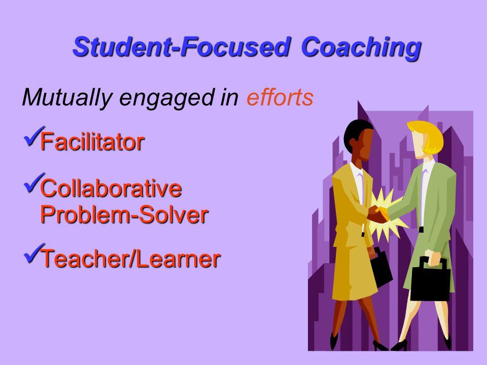 Mutually engaged in efforts Facilitator Facilitator Collaborative Problem-Solver Collaborative Problem-Solver Teacher/Learner Teacher/Learner Student-