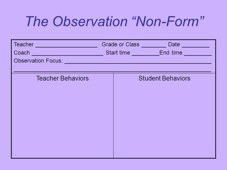 "The Observation ""Non-Form"" Teacher ____________________ Grade or Class ________ Date _________ Coach _______________________ Start time _________End t"