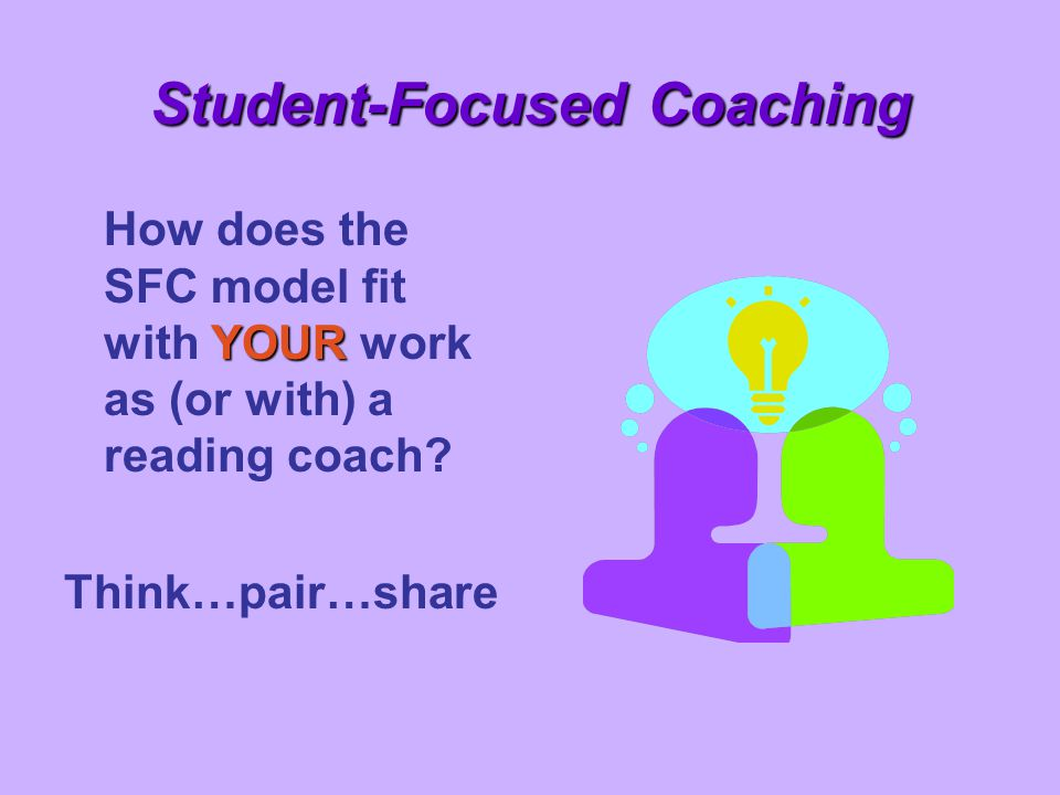 Student-Focused Coaching YOUR How does the SFC model fit with YOUR work as (or with) a reading coach? Think…pair…share
