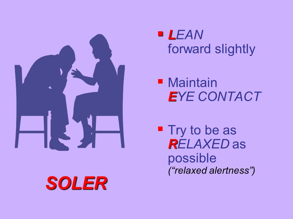 """ L  LEAN forward slightly E  Maintain EYE CONTACT R  Try to be as RELAXED as possible (""""relaxed alertness"""") SOLER"""