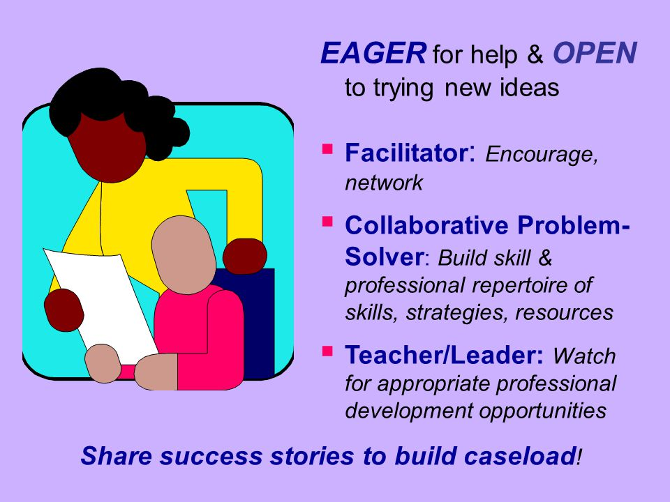 EAGER for help & OPEN to trying new ideas   Facilitator : Encourage, network   Collaborative Problem- Solver : Build skill & professional repertoi