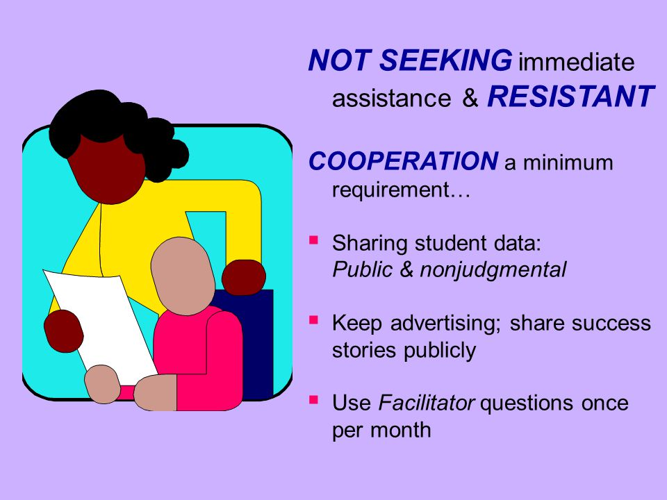 NOT SEEKING immediate assistance & RESISTANT COOPERATION a minimum requirement…   Sharing student data: Public & nonjudgmental   Keep advertising;