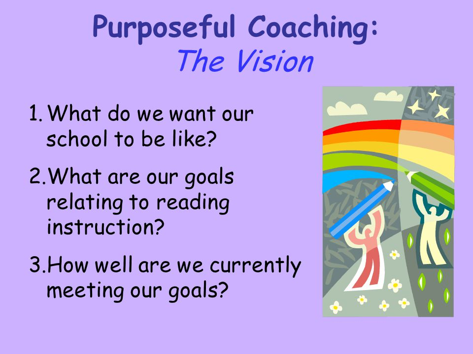 Purposeful Coaching: The Vision 1. 1.What do we want our school to be like? 2. 2.What are our goals relating to reading instruction? 3. 3.How well are