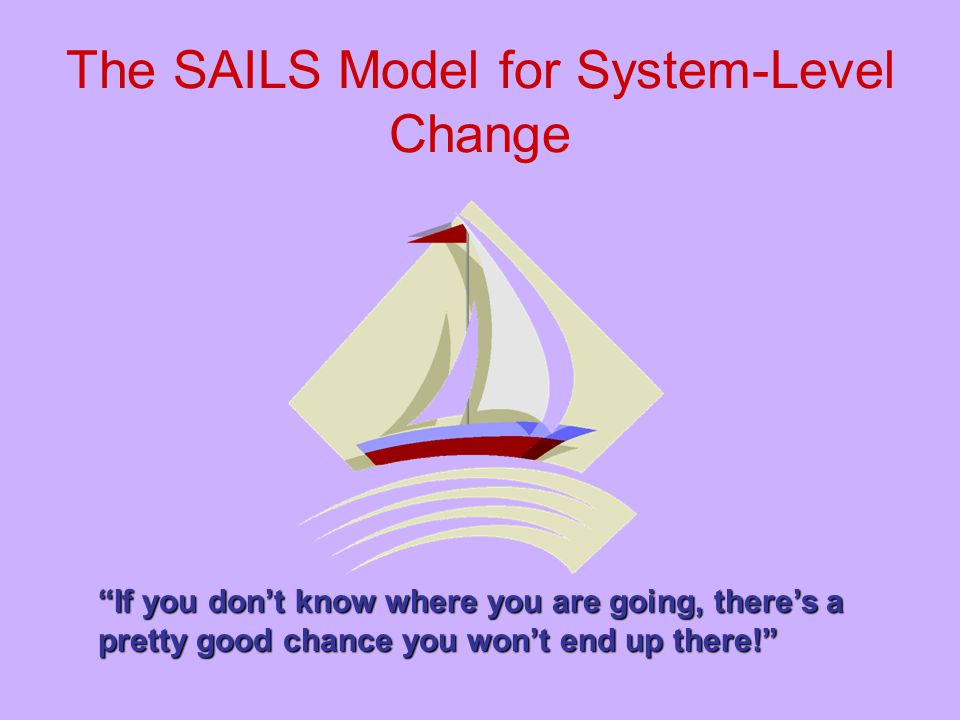 """The SAILS Model for System-Level Change """"If you don't know where you are going, there's a pretty good chance you won't end up there!"""""""