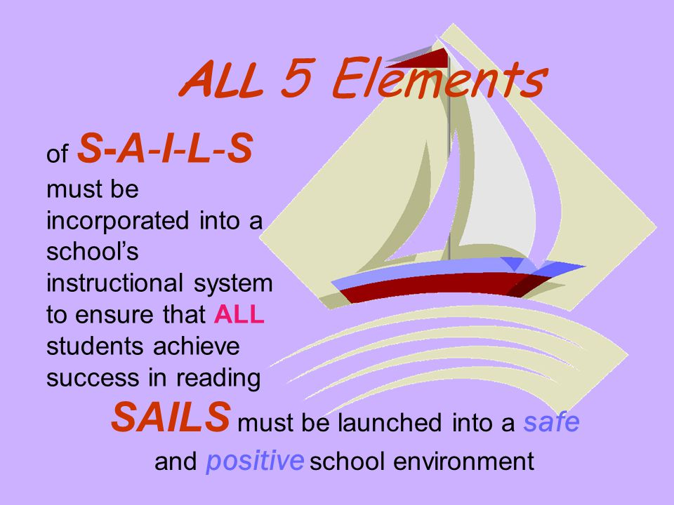 of S-A-I-L-S must be incorporated into a school's instructional system to ensure that ALL students achieve success in reading SAILS must be launched i