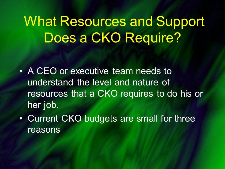 What Resources and Support Does a CKO Require.