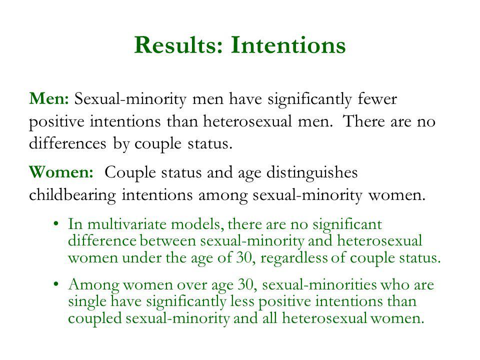 Results: Intentions Men: Sexual-minority men have significantly fewer positive intentions than heterosexual men. There are no differences by couple st