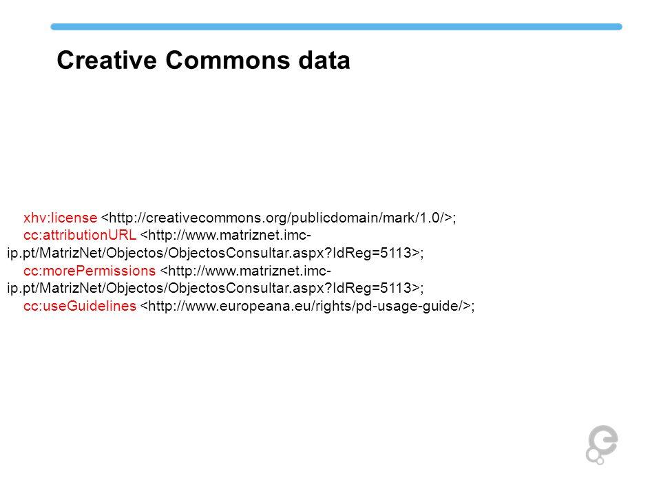 xhv:license ; cc:attributionURL ; cc:morePermissions ; cc:useGuidelines ; Creative Commons data