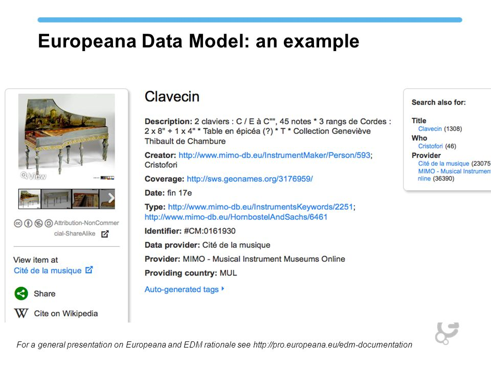 Europeana Data Model: an example For a general presentation on Europeana and EDM rationale see http://pro.europeana.eu/edm-documentation