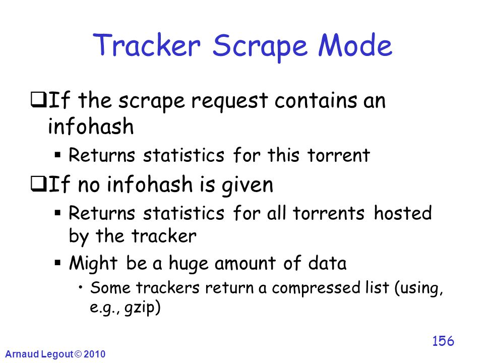 Tracker Scrape Mode  If the scrape request contains an infohash  Returns statistics for this torrent  If no infohash is given  Returns statistics