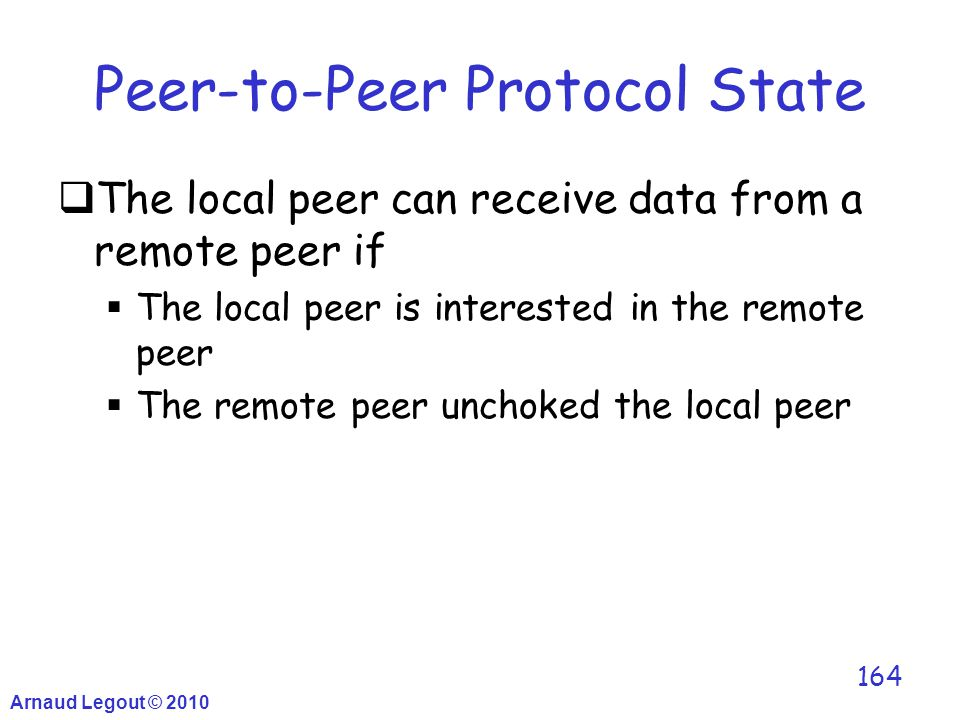 Arnaud Legout © 2010 164 Peer-to-Peer Protocol State  The local peer can receive data from a remote peer if  The local peer is interested in the rem