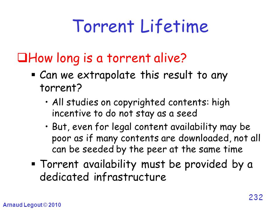 Arnaud Legout © 2010 232 Torrent Lifetime  How long is a torrent alive?  Can we extrapolate this result to any torrent? All studies on copyrighted c