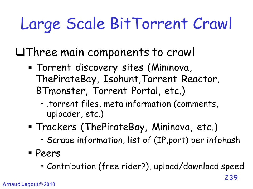 Large Scale BitTorrent Crawl  Three main components to crawl  Torrent discovery sites (Mininova, ThePirateBay, Isohunt,Torrent Reactor, BTmonster, T
