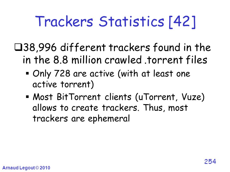 Trackers Statistics [42]  38,996 different trackers found in the in the 8.8 million crawled.torrent files  Only 728 are active (with at least one ac