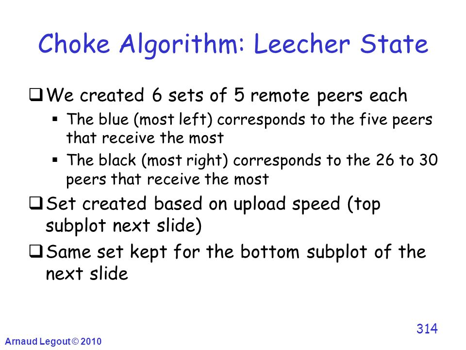 Arnaud Legout © 2010 314 Choke Algorithm: Leecher State  We created 6 sets of 5 remote peers each  The blue (most left) corresponds to the five peer