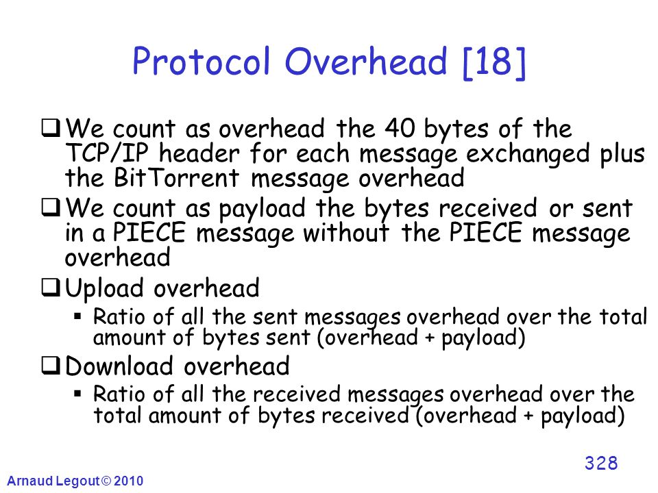 Arnaud Legout © 2010 328 Protocol Overhead [18]  We count as overhead the 40 bytes of the TCP/IP header for each message exchanged plus the BitTorren