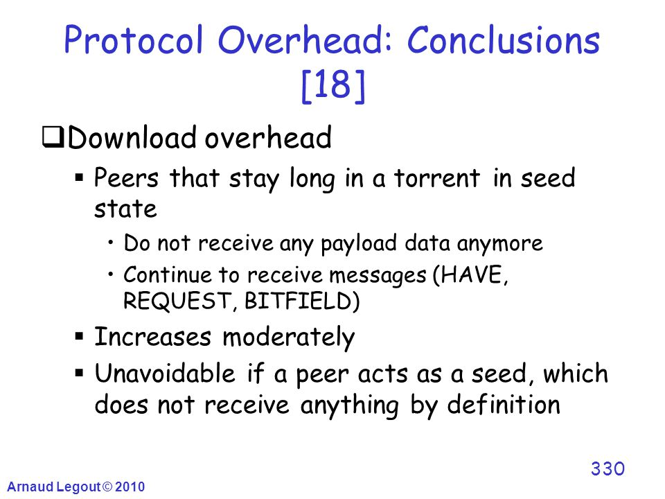 Arnaud Legout © 2010 330 Protocol Overhead: Conclusions [18]  Download overhead  Peers that stay long in a torrent in seed state Do not receive any