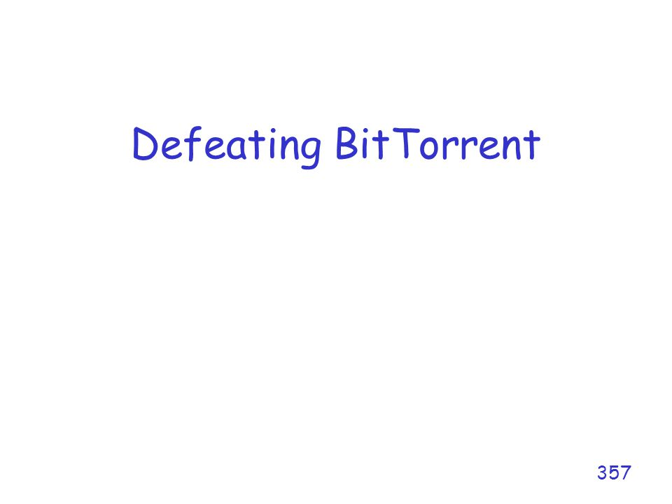 Defeating BitTorrent 357