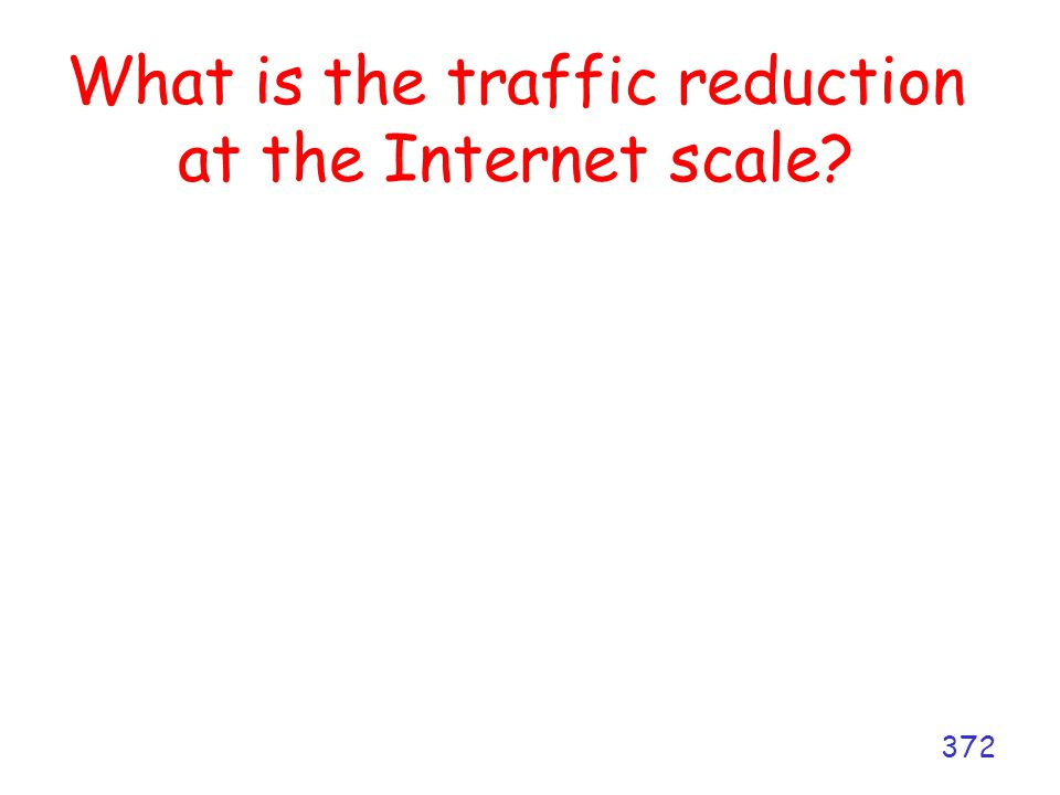 What is the traffic reduction at the Internet scale? 372