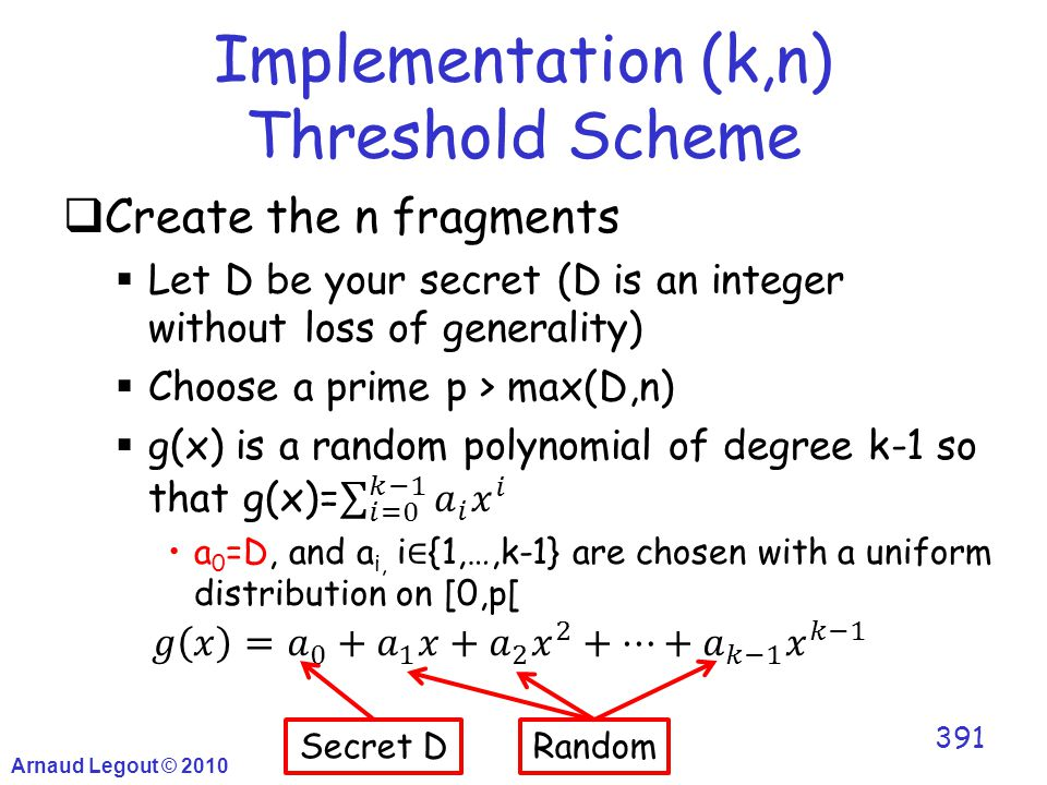 Implementation (k,n) Threshold Scheme Arnaud Legout © 2010 391 Secret DRandom