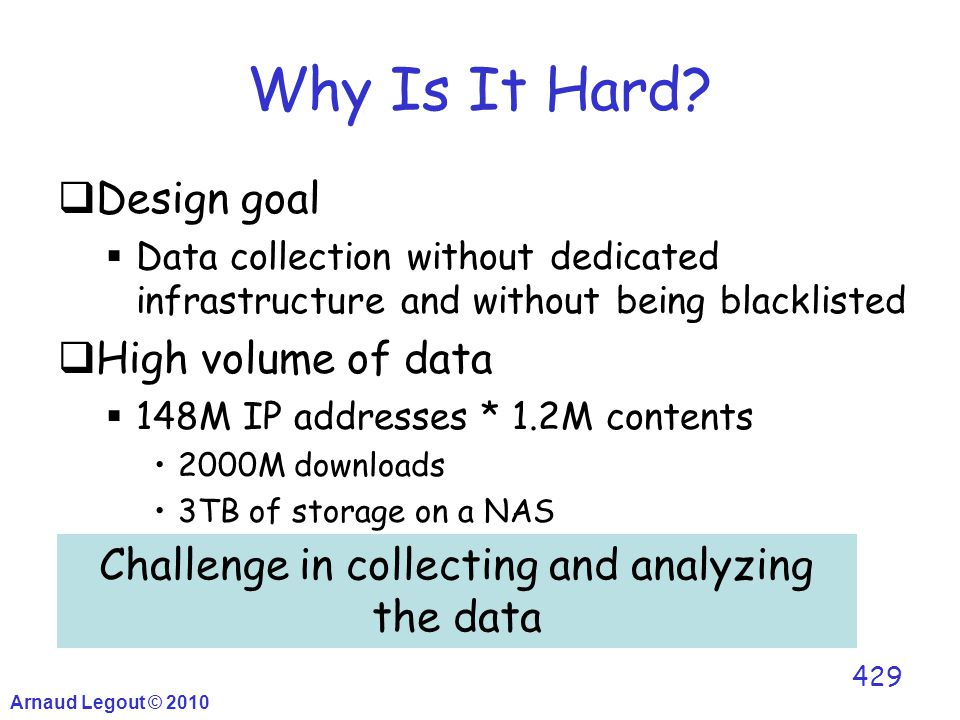 Why Is It Hard?  Design goal  Data collection without dedicated infrastructure and without being blacklisted  High volume of data  148M IP address
