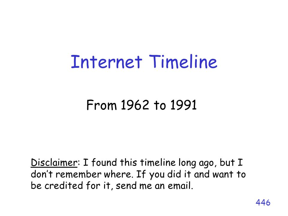 Internet Timeline From 1962 to 1991 446 Disclaimer: I found this timeline long ago, but I don't remember where. If you did it and want to be credited