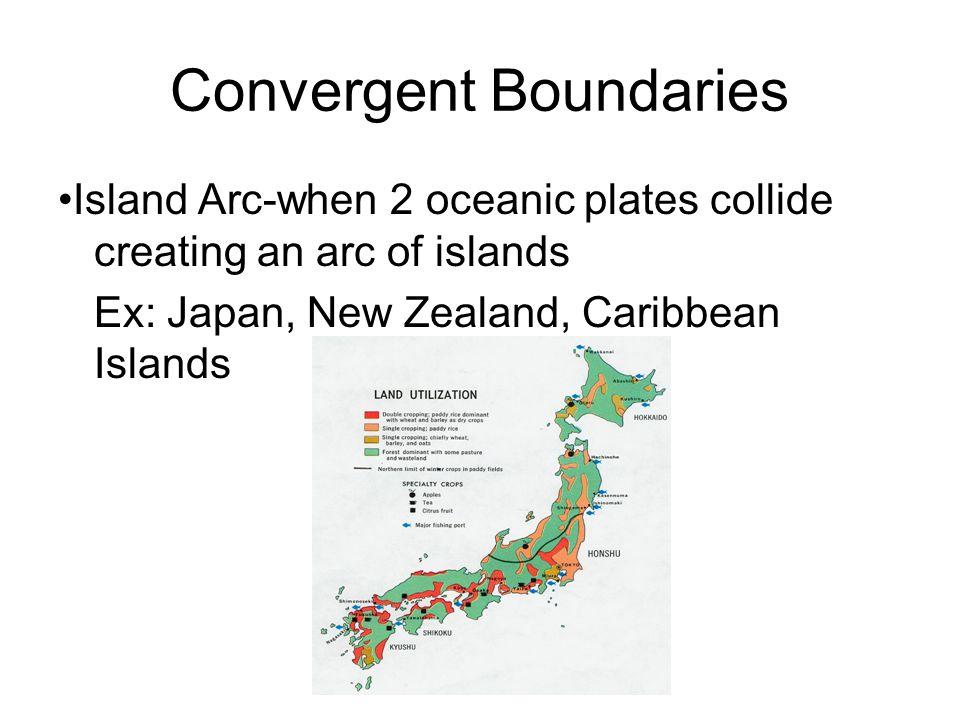Convergent Boundaries Island Arc-when 2 oceanic plates collide creating an arc of islands Ex: Japan, New Zealand, Caribbean Islands