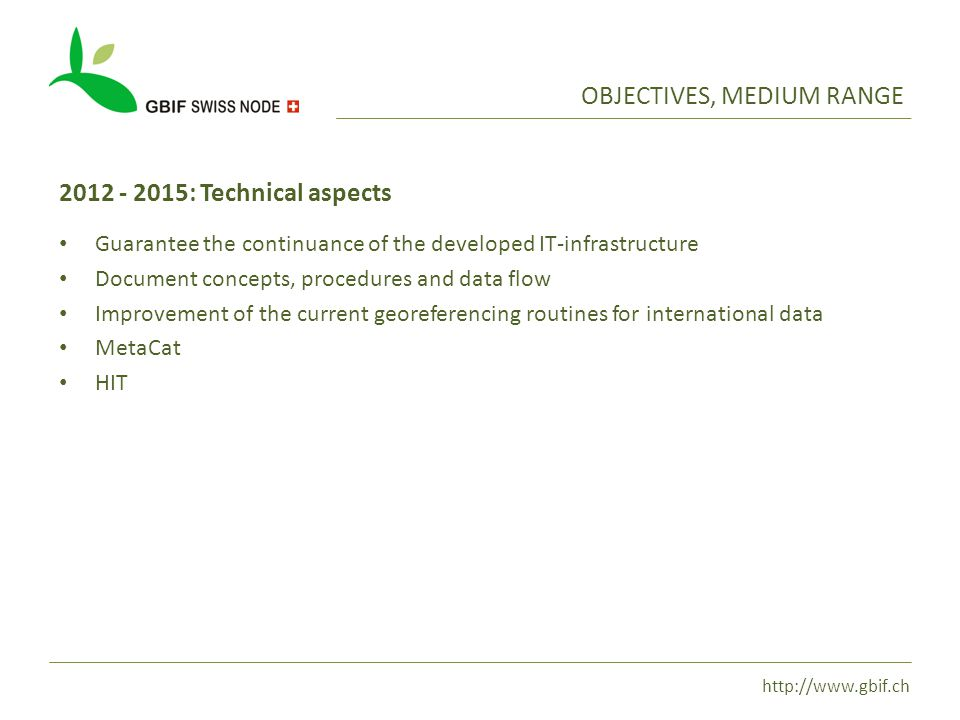http://www.gbif.ch OBJECTIVES, MEDIUM RANGE 2012 - 2015: Technical aspects Guarantee the continuance of the developed IT-infrastructure Document concepts, procedures and data flow Improvement of the current georeferencing routines for international data MetaCat HIT