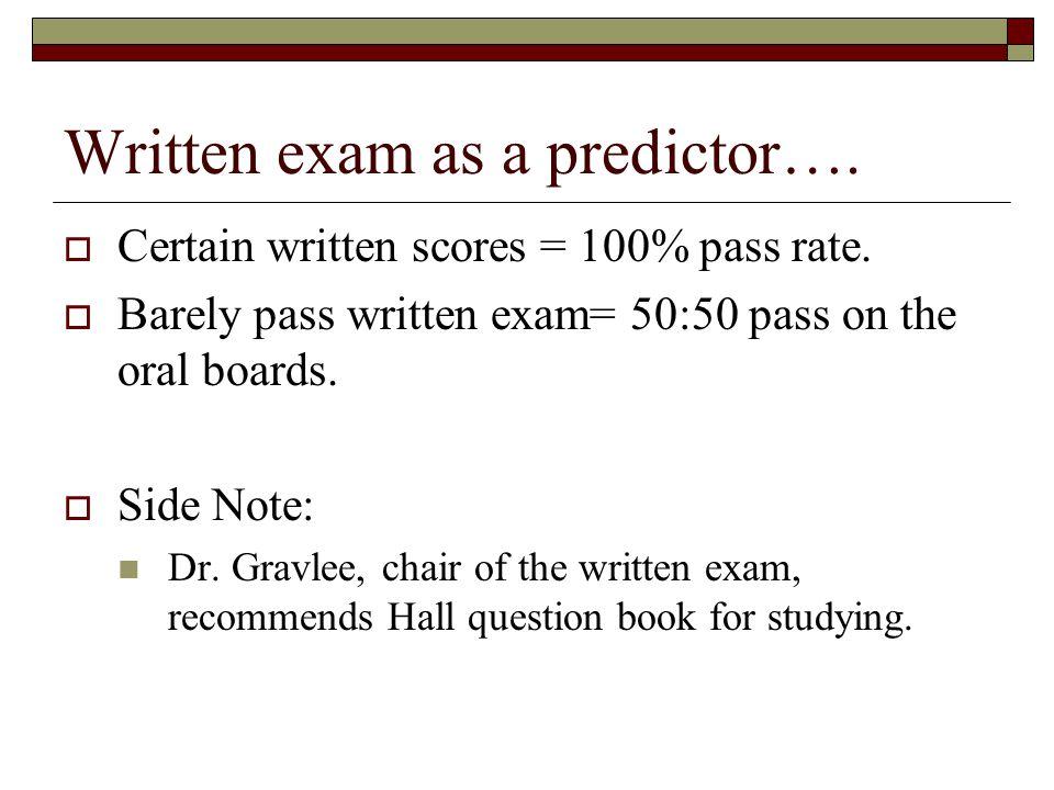 Written exam as a predictor….  Certain written scores = 100% pass rate.