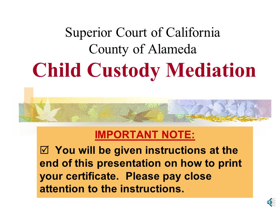 Superior Court of California County of Alameda Child Custody Mediation IMPORTANT NOTE:  You will be given instructions at the end of this presentation on how to print your certificate.