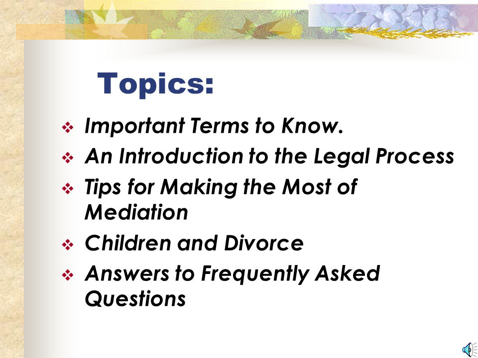 Topics:  Important Terms to Know.