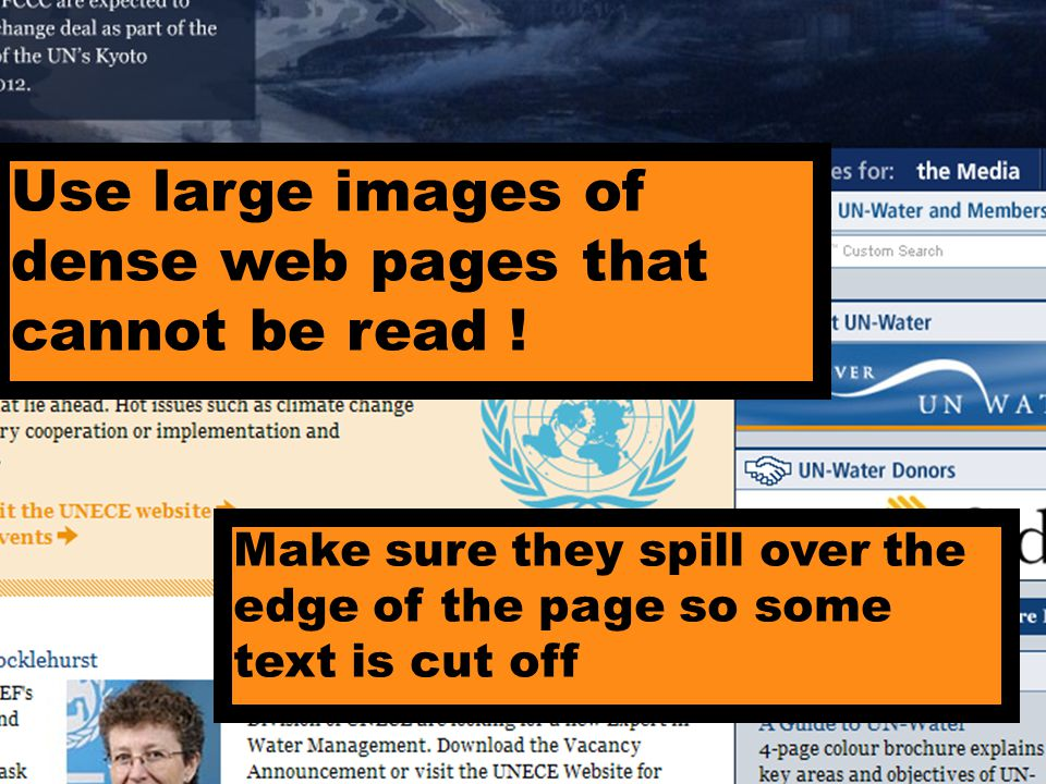 Use large images of dense web pages that cannot be read .