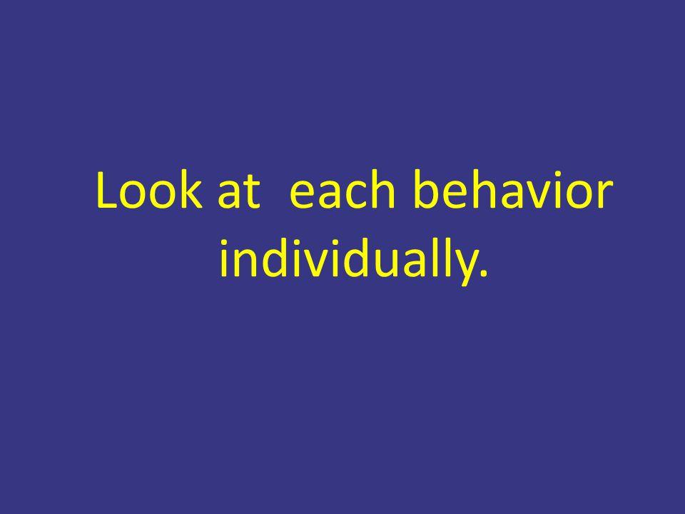 Look at each behavior individually.