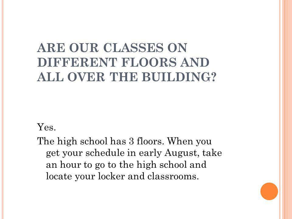 ARE OUR CLASSES ON DIFFERENT FLOORS AND ALL OVER THE BUILDING.