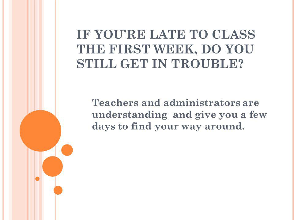IF YOU'RE LATE TO CLASS THE FIRST WEEK, DO YOU STILL GET IN TROUBLE.