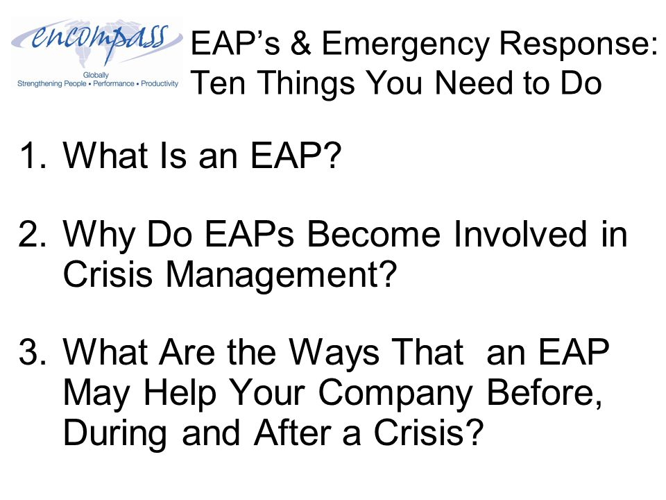 EAP's & Emergency Response: Ten Things You Need to Do 3) Understand the Terminology: Debriefing Term: Critical Incident Stress Management A debriefing is normally done within 72 hours of the incident and gives the individual or group he opportunity to talk about their experience, how it has affected them, brainstorm copingbrainstorm mechanisms, identify individuals at risk, and inform the individual or group about services available to them in their community.