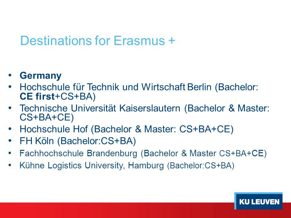 Germany Hochschule für Technik und Wirtschaft Berlin (Bachelor: CE first+CS+BA) Technische Universität Kaiserslautern (Bachelor & Master: CS+BA+CE) Ho