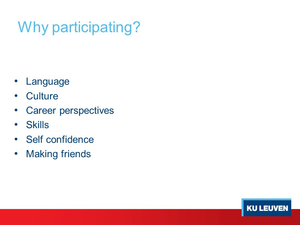Why participating Language Culture Career perspectives Skills Self confidence Making friends