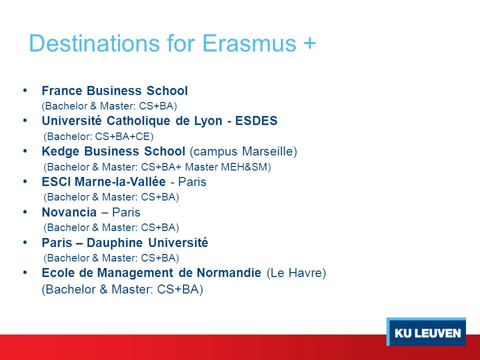 Destinations for Erasmus + France Business School (Bachelor & Master: CS+BA) Université Catholique de Lyon - ESDES (Bachelor: CS+BA+CE) Kedge Business School (campus Marseille) (Bachelor & Master: CS+BA+ Master MEH&SM) ESCI Marne-la-Vallée - Paris (Bachelor & Master: CS+BA) Novancia – Paris (Bachelor & Master: CS+BA) Paris – Dauphine Université (Bachelor & Master: CS+BA) Ecole de Management de Normandie (Le Havre) (Bachelor & Master: CS+BA)