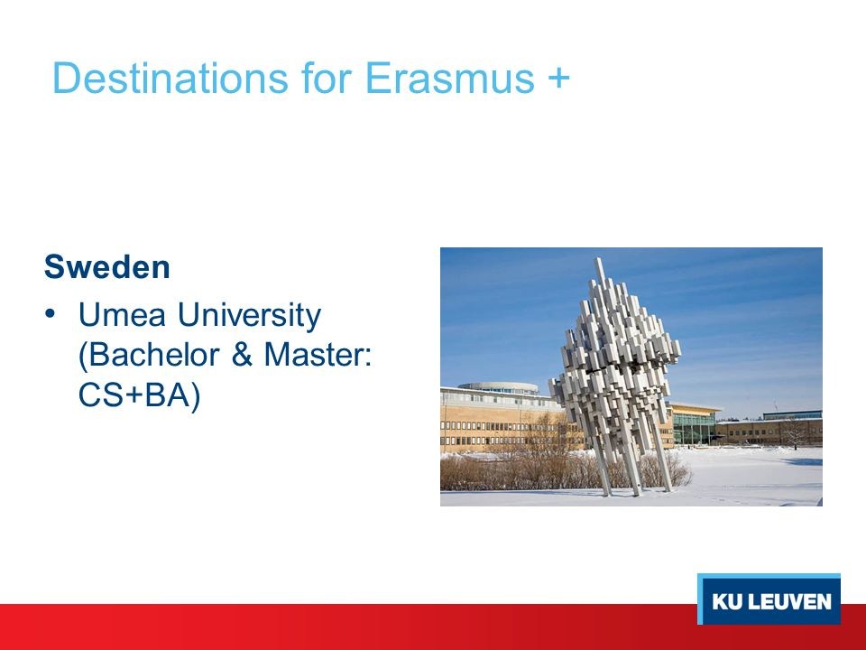 Destinations for Erasmus + Sweden Umea University (Bachelor & Master: CS+BA)