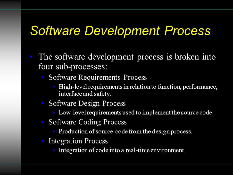 Software Development Process The software development process is broken into four sub-processes: Software Requirements Process High-level requirements