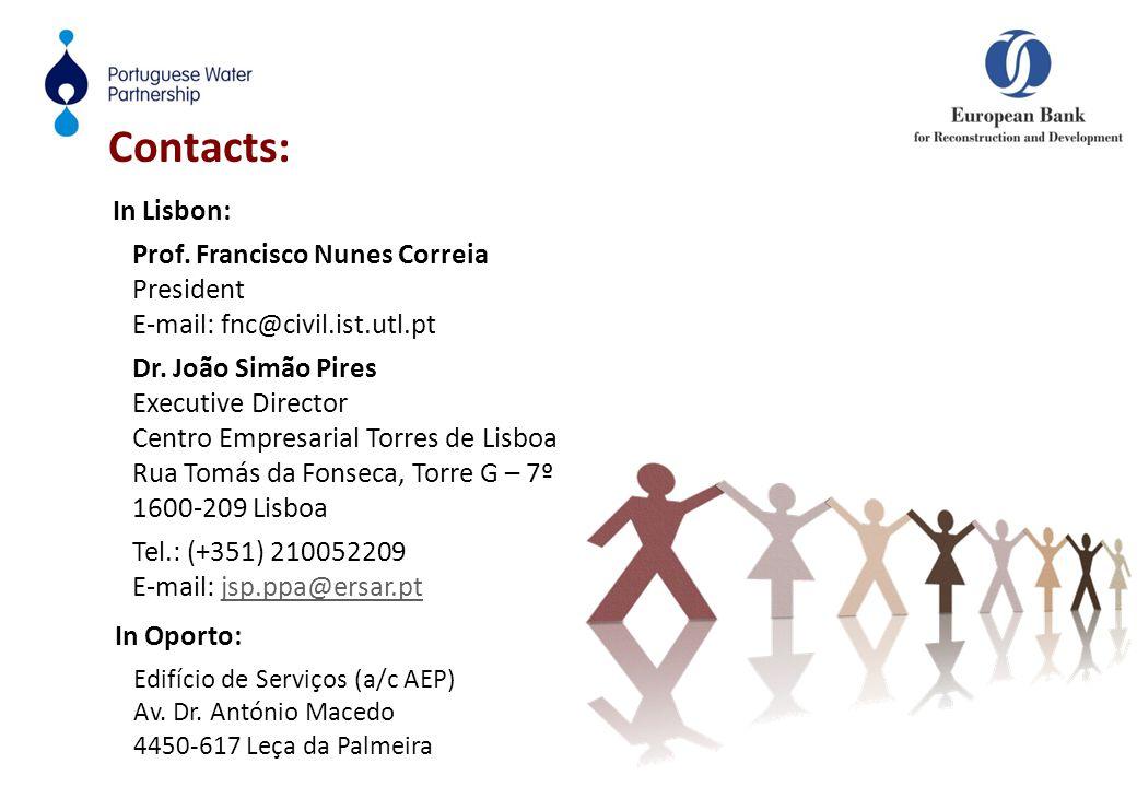 Contacts: In Oporto: Edifício de Serviços (a/c AEP) Av. Dr. António Macedo 4450-617 Leça da Palmeira In Lisbon: Prof. Francisco Nunes Correia Presiden