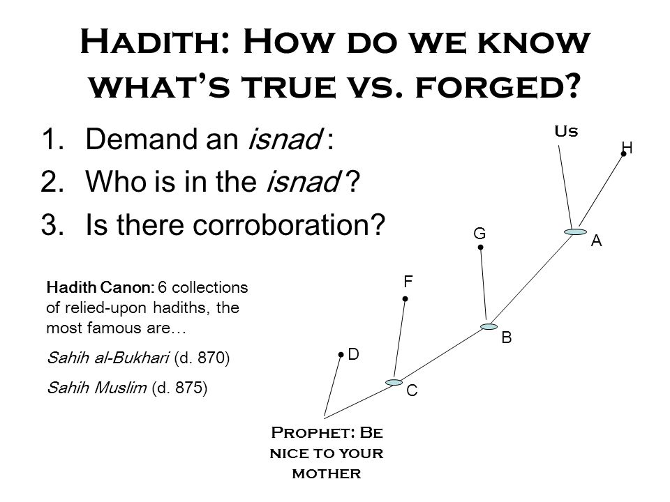 Hadith: How do we know what's true vs. forged? 1.Demand an isnad : 2.Who is in the isnad ? 3.Is there corroboration? Prophet: Be nice to your mother U