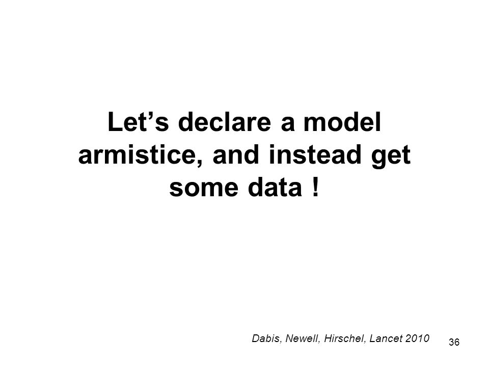 36 Let's declare a model armistice, and instead get some data .