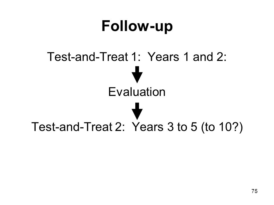 75 Follow-up Test-and-Treat 1: Years 1 and 2: Evaluation Test-and-Treat 2: Years 3 to 5 (to 10 )