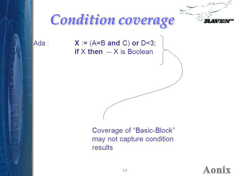 """19 Condition coverage X := (A=B and C) or D<3; if X then -- X is Boolean Ada : Coverage of """"Basic-Block"""" may not capture condition results"""
