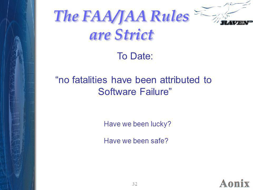 """32 The FAA/JAA Rules are Strict To Date: """"no fatalities have been attributed to Software Failure"""" Have we been lucky? Have we been safe?"""