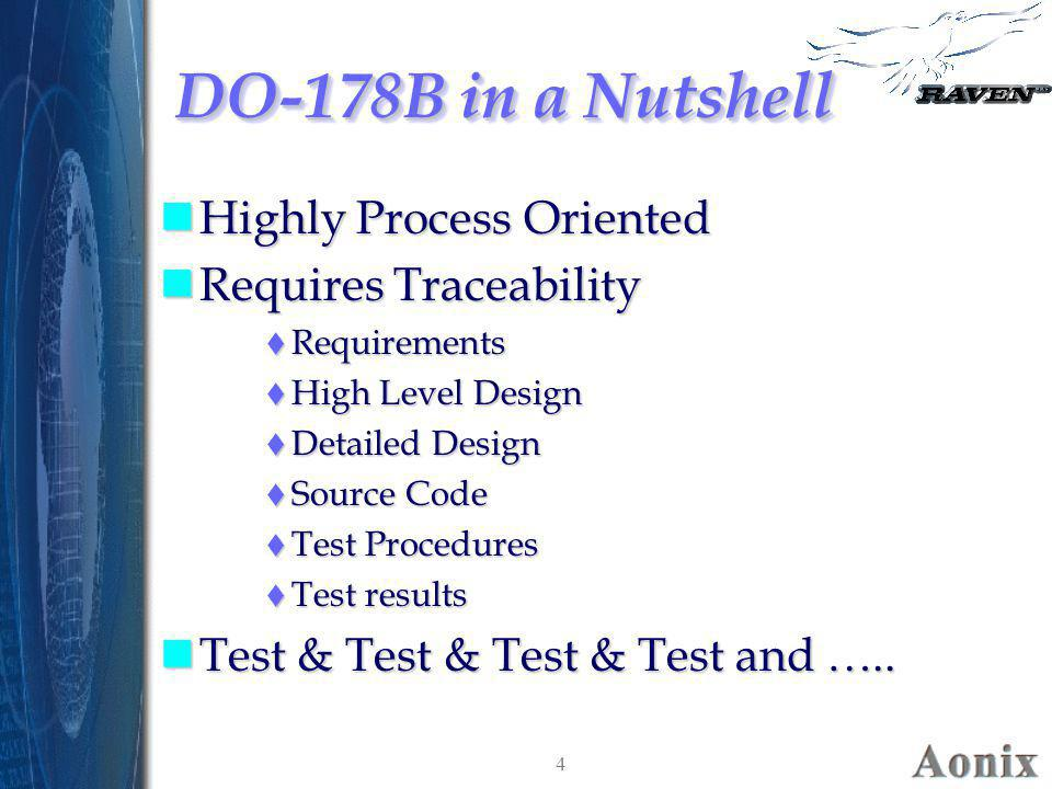 4 DO-178B in a Nutshell nHighly Process Oriented nRequires Traceability  Requirements  High Level Design  Detailed Design  Source Code  Test Proc